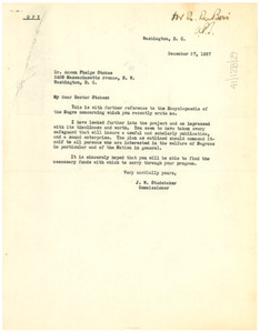 Letter from J. W. Studebaker to Anson Phelps Stokes