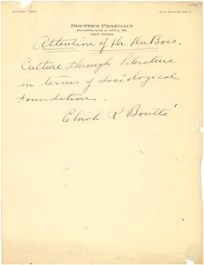Letter from L. P. Bowler to W. E. B. Du Bois