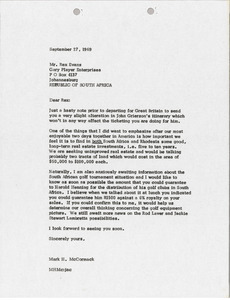 Letter from Mark H. McCormack to Rex Evans