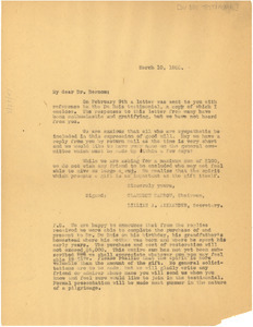 Circular letter from Du Bois Testimonial Committee to Dr. Bernom