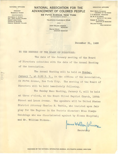Circular letter from the NAACP to W. E. B. Du Bois