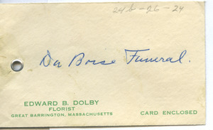 Condolence card from Dr. & Mrs. H. M. Barnes to W. E. B. Du Bois