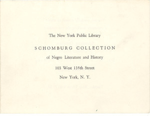 Invitation to ceremony marking the presentation to the Schomburg Collection of a bronze head of Dr. W. E. Burghardt Du Bois by William Zorach
