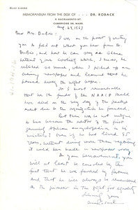 Letter from A. A. Roback to Shirley Graham Du Bois