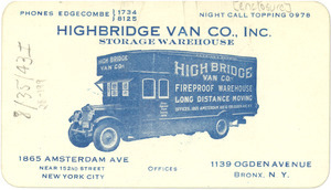 Advertising card from Highbridge Van Co.