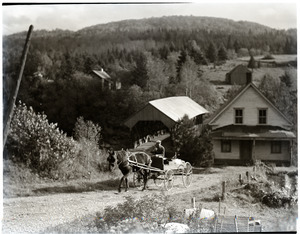 Covered bridge, house, and horse and wagon