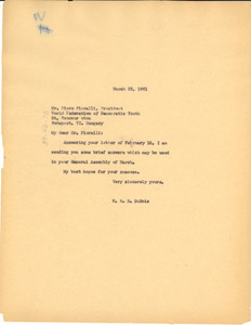 Letter from W. E. B. Du Bois to World Federation of Democratic Youth