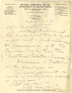 Letter from William Pickens to Dr. Du Bois