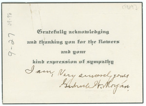Thank you note from Gertrude W. Morgan