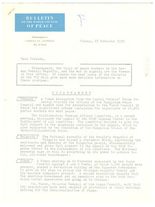 Bulletin from World Council of Peace to W. E. B. Du Bois