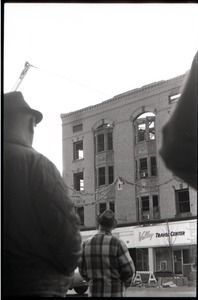 Fire on Main Street, Greenfield, Mass.: crowd looking up at burned out building