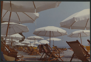 Beach umbrellas at noon
