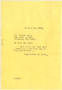 Letter from W. E. B. Du Bois to Robert Elzy