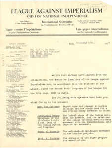 Circular letter from The League Against Imperialism and for National Independence to W. E. B. Du Bois