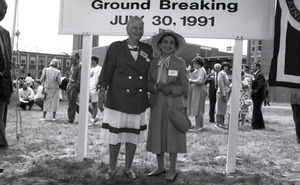Ceremonial groundbreaking: Corinne Conte and unidentified official