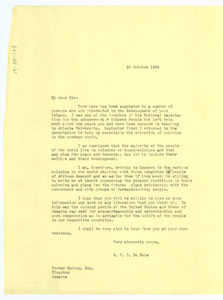 Letter from W. E. B. Du Bois to Norman Manley