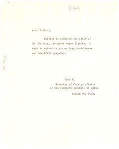 Letter from Chen Yi to Shirley Graham Du Bois