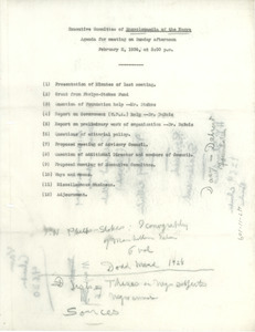 Agenda for the February 2, 1936 meeting of the 'Encyclopedia of the Negro' Board of Directors