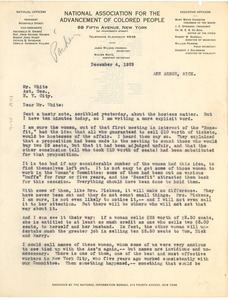 Letter from William Pickens to NAACP, Acting Secretary