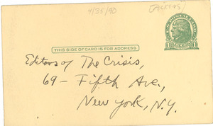 Postcard from William Pickens to Crisis