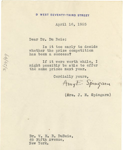 Letter from Amy E. Spingarn to W. E. B. Du Bois