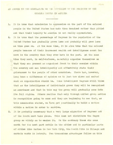 An answer to the memorandum on the bettering of the position of the colored people in America