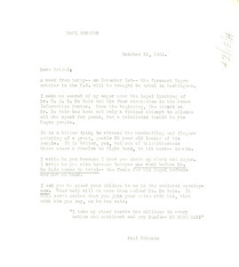 Circular letter from Paul Robeson
