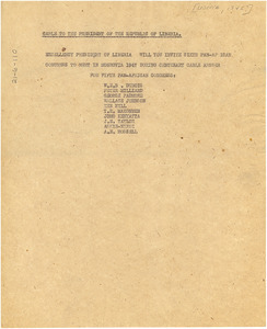 Cable from W. E. B. Du Bois to President of the Republic of Liberia