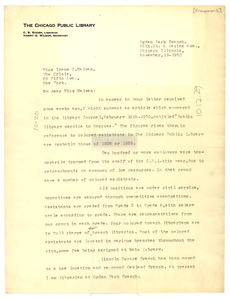 Letter from the Chicago Public Library to the Crisis