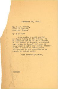 Letter from W. E. B. Du Bois to O. P. DeWalt