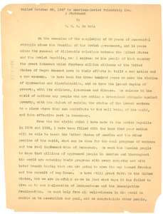 A statement by W. E. B. Du Bois