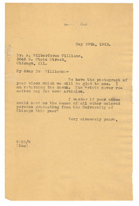 Letter from W. E. B. Du Bois to A. Wilberforce Williams