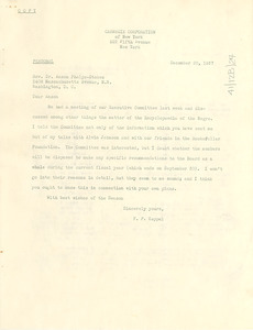 Letter from Carnegie Corporation to Anson Phelps Stokes