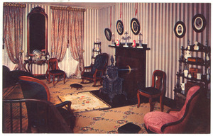 Postcard of double parlor, Abraham Lincoln home