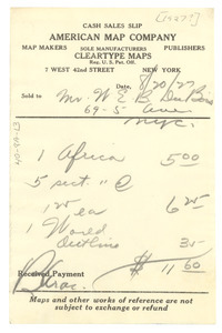 American Map Company receipt
