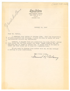 Letter from Levy & Delany Funeral Home to W. E. B. Du Bois