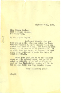 Letter from M. G. Allison to Helen A. Taylor