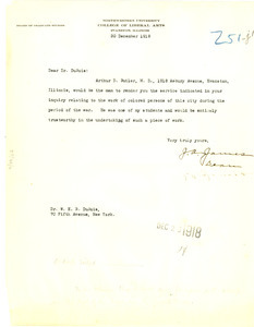 Letter from J. A. James to W. E. B. Du Bois