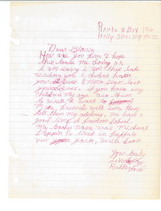 Letter from Linda Fay Rutherford to Gloria Xifaras Clark