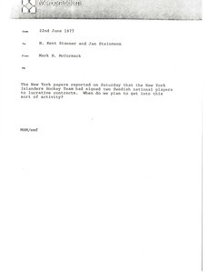 Memorandum from Mark H. McCormack to H. Kent Stanner and Jan Steinmann
