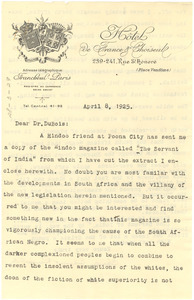 Letter from Charles Edward Russell to W. E. B. Du Bois