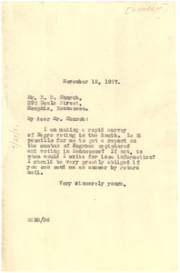 Letter from W. E. B. Du Bois to R. R. Church
