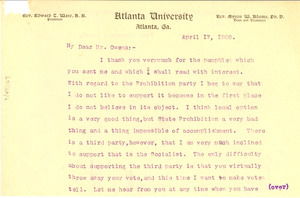 Letter from W. E. B. Du Bois to C.C Owens