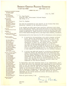 Letter from American Christian Palestine Committee to Hugh H. Smythe