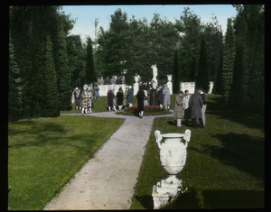 A. H. Dakin garden (crowd in a formal garden)