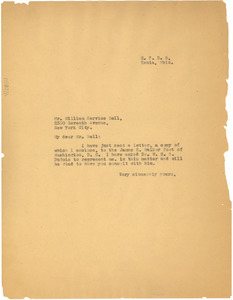 Letter from W. E. B. Du Bois written on behalf of Ada Young to William Service Bell
