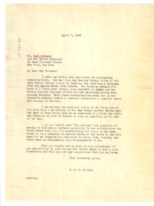 Letter from W. E. B. Du Bois to Paul Robeson