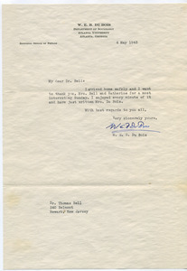 Letter from W. E. B. Du Bois to Thomas Bell