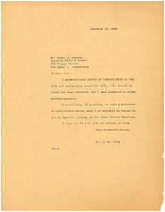 Letter from W. E. B. Du Bois to New Haven City Burial Ground