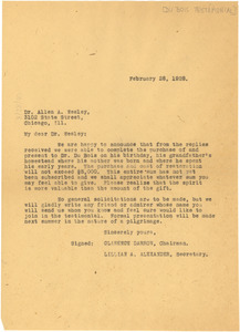 Circular letter from Du Bois Testimonial Committee to Allen A. Wesley